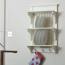 wooden painted plate rack wall unit by the orchard
