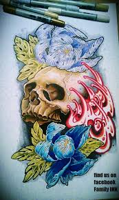 skull and peony flowers tattoo flash by zack chiswell on deviantart
