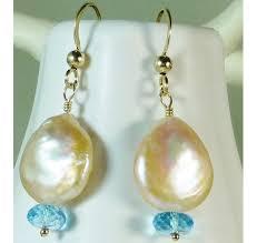 pearl dangle earrings pearl blue topaz gold drop earrings coin pearl dangle e