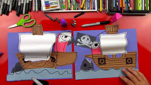 how to draw a pirate ship art for kids hub
