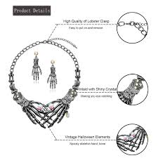 vintage halloween skeleton amazon com halloween earrings necklace set skull skeleton hand