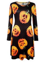 halloween long sleeve t shirts pumpkin print long sleeve halloween dress in black xl sammydress com