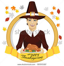 Happy Thanksgiving Pilgrims Thanksgiving Day Symbols Set Happy Thanksgiving Stock Vector