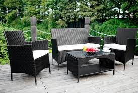 Patio Table Cooler by Amazon Com Merax 4 Piece Outdoor Pe Rattan Wicker Sofa And Chairs