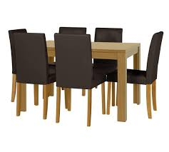 Buy HOME Penley Oak Veneer Ext Dining Table   Chairs Choc At - Argos kitchen tables