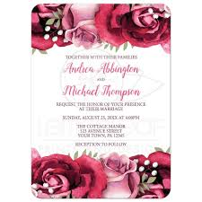 wedding invitations burgundy invitations burgundy pink white rustic