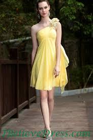 chiffon empire one shoulder yellow maternity evening dress short