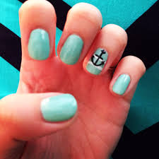 light blue gel manicure with anchor decal love it yelp