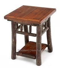 Log Side Table Hickory Log Side Table Cabin Furniture Barn Wood End Table