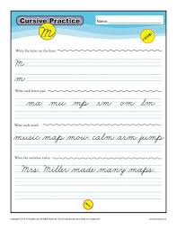cursive m letter m worksheets for handwriting practice