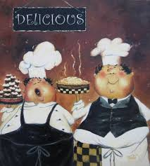 Kitchen Fat Chef Decor Two Fat Chefs Art Print Fat Chef Paintings Wall Art Pastry Chefs