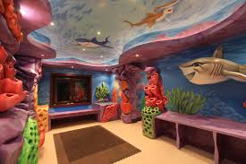 outstanding ocean themes playroom ideas with fish and sea wall