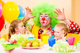 two cheerful clowns birthday children bright stock photo royalty happy children with clown on birthday party stock photo image of