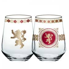 game of thrones lannister stemless wine glass set of 2 wanting