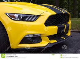 Yellow Mustang With Black Stripes 2015 Ford Mustang Coupe Front End Stock Photo Image 60145652