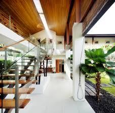 decoration wooden house with indoor pool in fresh atmosphere