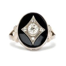 onyx engagement rings deco diamond onyx engagement ring nottingham trumpet horn