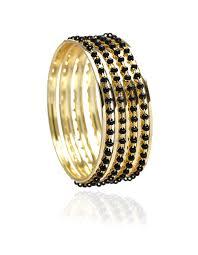 black gold bangle bracelet images Black bead bangle bracelet set cleo jpg