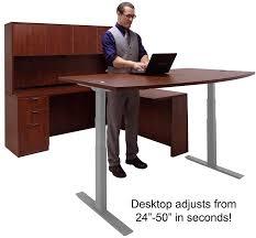 lift adjustable height cherry u desk w hutch