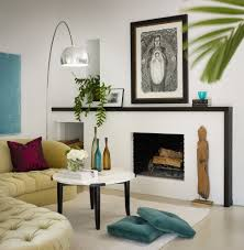 brick fireplace living room midcentury with glass coffee