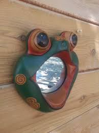 frog mirror wooden mirror frog reptile hand painted green