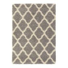 Moroccan Trellis Area Rug by Sweet Home Stores Cozy Shag Collection Gray And Cream Moroccan