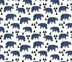 geo bear camping blue navy kids room triangles mountains boy