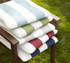 tufted outdoor dining chair cushion stripe pottery barn