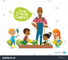 teacher kids engaged gardening backyard stock vector