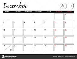 Calendario Diciembre 2018 Diciembre De 2018 Plantilla De Diseño De Calendario Para Imprimir
