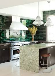Green Backsplash Kitchen C Home