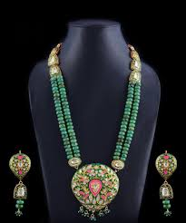 gold green necklace images Long meenakari kundan gold green pink handcrafted necklace jpeg