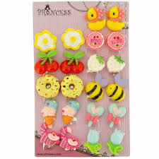 kids clip on earrings big size generic lovely design fashion clip on earrings