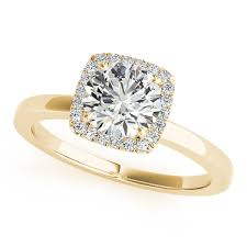gold halo engagement rings square solitaire halo engagement ring 14k yellow gold 1 12ct