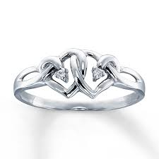 white gold promise rings heart promise ring diamond accents 10k white gold