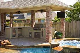 backyard designs with pool and outdoor kitchen kitchen design