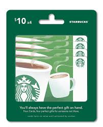 amazon com starbucks gift cards multipack of 4 10 gift cards