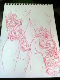 shoulder to thigh flowers and vines tattoo concept sketch john