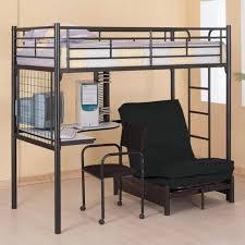 Coaster Max Twin Over Futon Metal Bunk Bed With Desk In Black - Metal bunk beds with futon