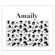 amaily japanese nail art sticker flower sillouette black