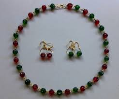 crystal beaded necklace with earrings 5 steps