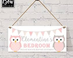 Pink And Grey Girls Bedroom Bedroom Door Sign Etsy