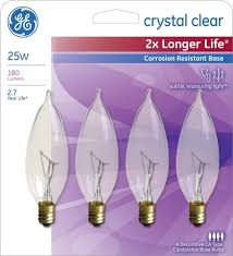 ge 25 watt equivalent crystal clear sm base decorative bent tip
