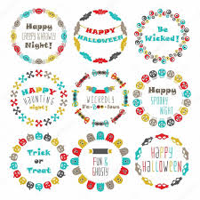 halloween horizontal background colorful happy halloween circle border pattern emblems set with