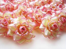 bulk artificial flowers 100 silk pink edge roses flower 1 75