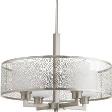 Light Fixture Collections Progress Lighting Mingle Collection 4 Light Brushed Nickel Pendant