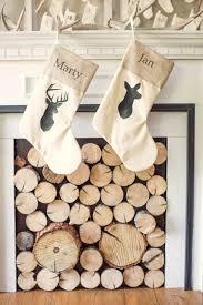 rustic deer silhouette neutral christmas stockings with antler