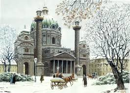 watercolor of st charles u0027s church in vienna by adolf