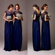 navy blue bateau sheer lace long cheap bridesmaid dresses cap