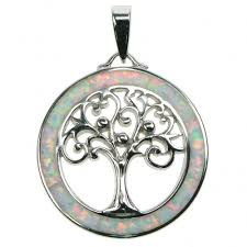 white opal sterling silver white opal tree of life pendant astral aspects
